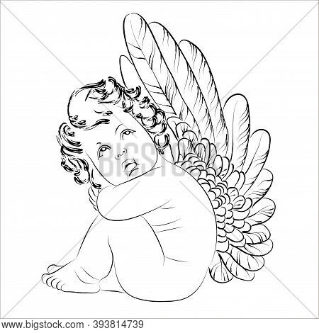 Vector Linear Illustration Of Sitting Cupid. Isolated Image Of A Cute Angel With Big Wings.
