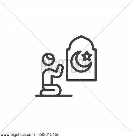 Muslim Man Praying In Mosque Line Icon. Linear Style Sign For Mobile Concept And Web Design. Man Pra