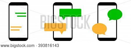 Conversation Chat With Smartphone Icon. Isolated Text Message Set On White Background. Sms Sign In S