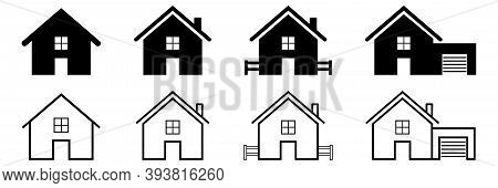 House Icons Collection On White Background. Isolated Bold And Outline Pictogram Of Home Symbol. Hous