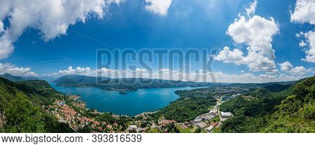 High Resolution Panorama Of Lake Orta In Piedmont (piemonte), Italy With The St. Julius Island (isol
