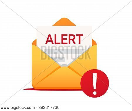 Alert Message By Email. Envelope With A Alert. Vector Icon