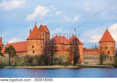 Trakai Island Castle In Lithuania. Brick Fortress Close Up. Red Turrets And Walls. Panoramic View Of