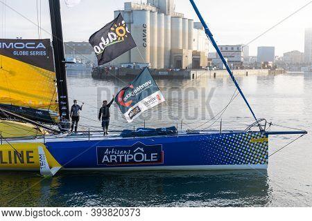 Les Sables D'olonne, France - November 08, 2020: Arnaud Boissieres Boat (la Mie Caline - Artisants A
