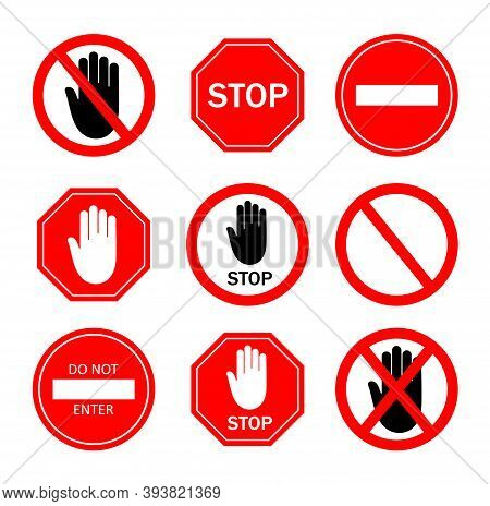 Stop Sign. Icon Of Ban To Enter. Red Symbol With Stop, Hand For Restricted Of Traffic. Logo Of Dange