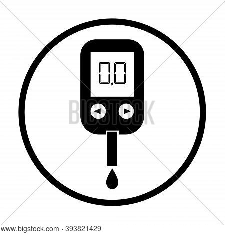 Icon Of Glucose In Blood. Glucometer With Monitor For Meter Sugar In Diabetes. Tester, Device For Te