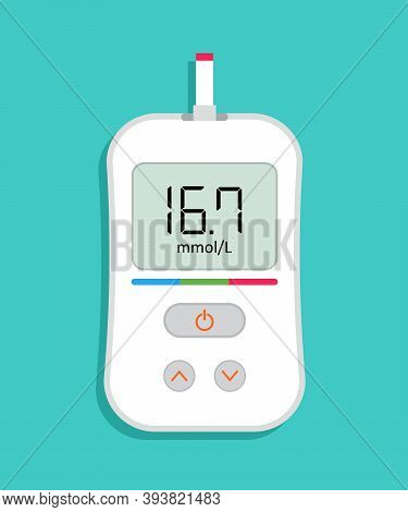 Glucometer Icon. Meter For Check Of Level Of Sugar In Blood. High Level Of Glucose On Monitor Of Dev