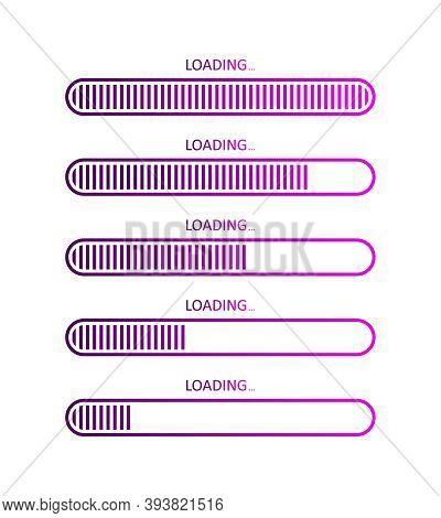 Progress Of Load Bar. Icons Of Status Download. Upload Of Website Or Program. Symbol For Time And Sp