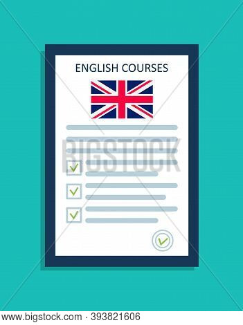 English Language Icon. Logo For Course Of English On Class. British Flag In School. Test For Speak A