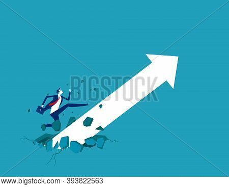 Businessman With Growing Arrow. Broke Through The Ground And Upward