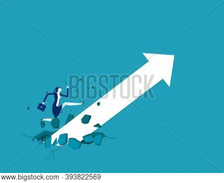 Businesswoman With Growing Arrow. Broke Through The Ground And Upward