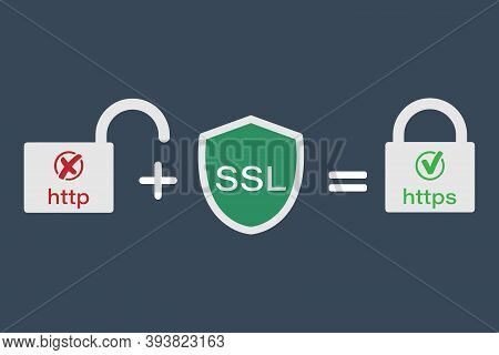 The Http And Https Protocols. Safe And Reliable Web Browsing. Vector Illustrations.