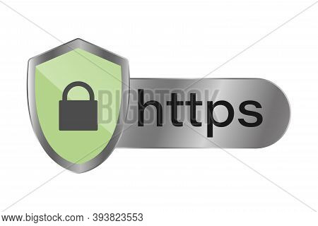 Https. Safe And Reliable Browsing .secure Connection Icon . Vector Illustrations.
