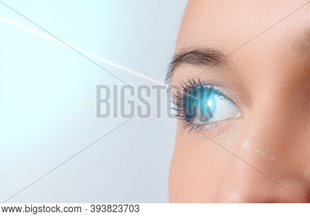 Woman's Eye Close-up. Laser Beam On The Cornea. Concept Of Laser Vision Correction, Ophthalmology.