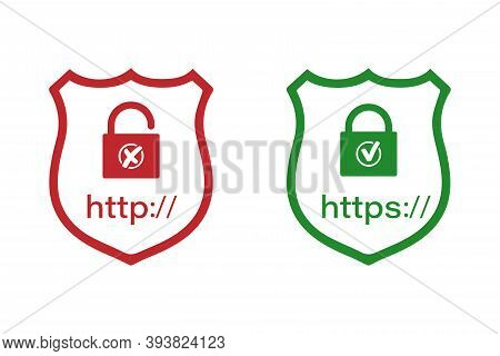 Http And Https Protocols On The Shield With A Lock. Safe And Reliable Browsing . Vector Illustration