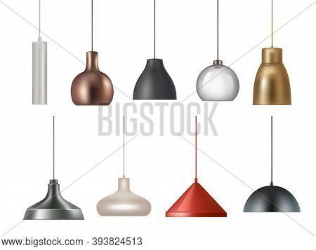 Hanging Lamp. Realistic Electricity Lamp Bright Lighting Interior Decoration Vector Illustrations Se