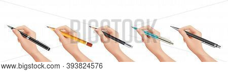 Hand Holding Stationery. Realistic Pen Pencil, Isolated Numan Arm Signs Document Vector Illustration