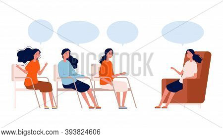 Psychotherapy Group. Women Consultation With Therapist, Coaching Or Discussion Club. Female Help Mee