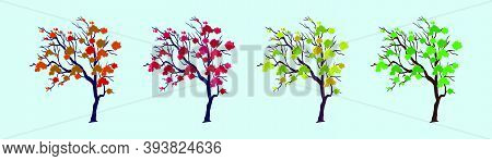 Set Of Tree. Modern Cartoon Icon Design Template With Various Models. Vector Illustration Isolated O