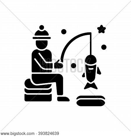 Ice Fishing Black Glyph Icon. Fisherman With Rod. Fisher Lure And Catch On Bait. North Icy Lake. Win