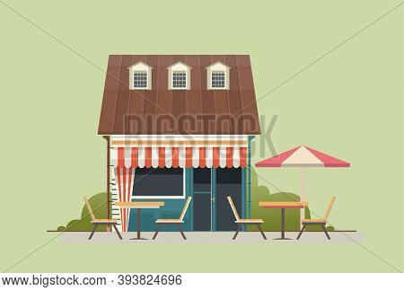 Vector Illustration A Small House With A Shop Or Cafe On The Ground Floor Under An Umbrella In The Y