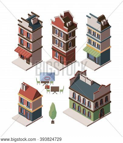 Old House Isometric. Medieval Buildings Royal Gates Retro Apartment Antique Constructions Vector Set