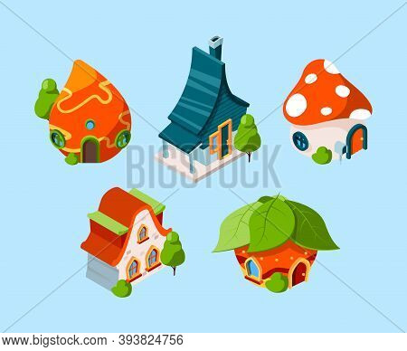 Fairytale House Isometric. Fantasy Buildings For 3d Games Cartoon Construction Vector. Illustration