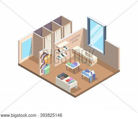 Clothes Store Isometric. Boutique Exhibition Stand Exterior Inside Mall Fashion Retail Outfit Vector