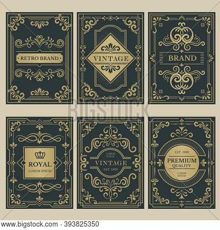 Crown Vintage Cards. Royal Victorian Style Posters With Floral Calligraphic Elements Borders Divider