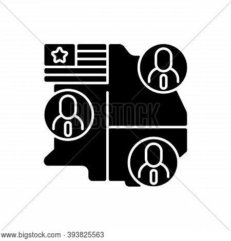 Electoral College Black Glyph Icon. Presidential Electors. Official Votes For President And Vice Pre