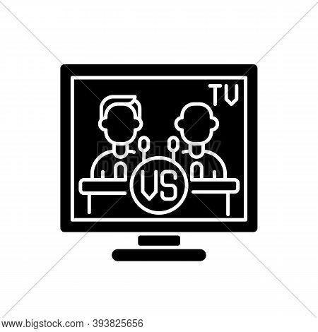 Televised Debates Black Glyph Icon. General Election Campaign. United States Presidential Debates. P