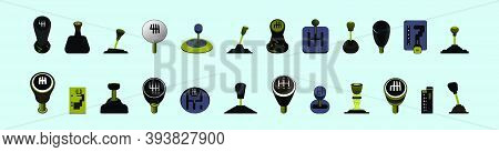 Gear Box, Stick Shift. Modern Cartoon Icon Design Template With Various Models. Vector Illustration