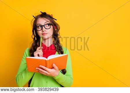 Close-up Portrait Of Attractive Minded Brainy Genius Girl Writing Essay Creating Solution Isolated O