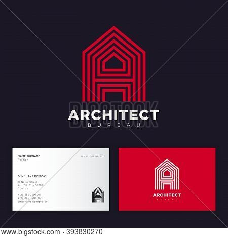 Architect Bureau Logo. Red Letter A Consist Of Some Strips. A Monogram, Isolated On A Different Back