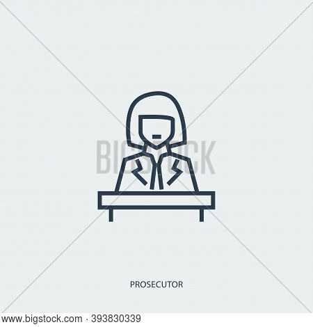 Vector Outline Icon Of Legal Proceedings - Prosecutor Woman