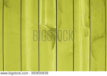 Yellow Siding Wall, Old Board With Cracks And Drips Of Paint, Texture Background Backdrop