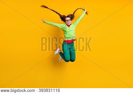 Full Length Body Size View Of Attractive Funky Ecstatic Cheerful Girl Jumping Having Fun Isolated Ov