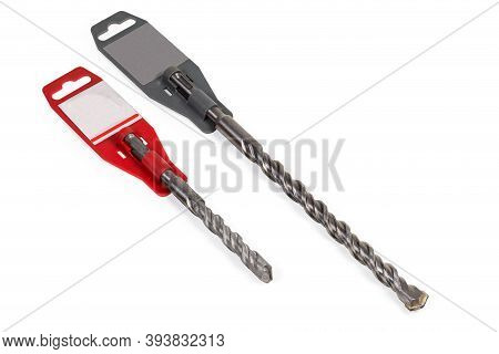 Two Drill Bits Different Sizes For Masonry And Concrete With Special Shanks And Carbide Bit Tips On