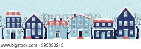 Winter House Collection. Vector Image Of The Blue Christmas Houses Covered With Snow. Holiday And Ce