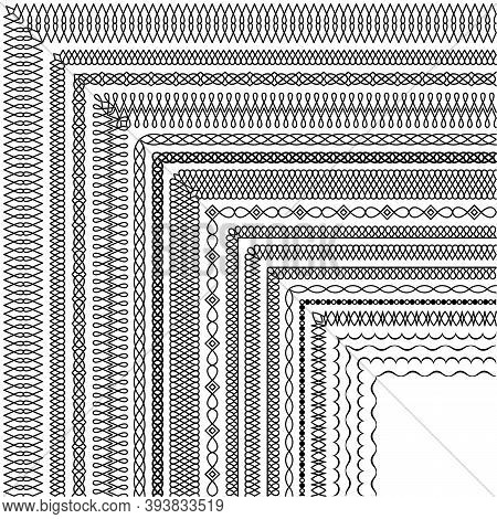 Vector Set Of Corner Brushes In A Modern Linear Style. Group Of Elegant Simple Border Designs For Ce
