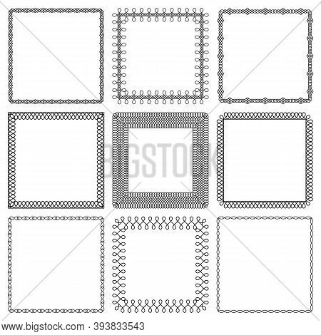 Vector Set Of Square Frames From Braided Lines. Collection Of Simple Modern Linear Twisted Ropes Mon