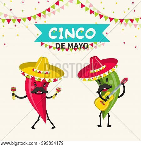 Funny Hot Peppers Characters. Cinco De Mayo Mexican Holiday. Vector Illustration.
