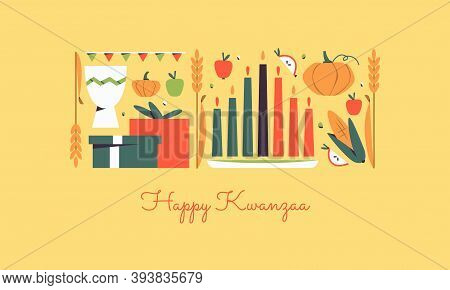 Happy Kwanzaa Horizontal Vector Banner Template With The Symbols Of African Heritage - Kinara Candle