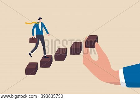 Helping Hand To Support On Career Development, Staircase Or Ladder Of Success Concept, Confidence Bu