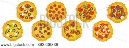 A Set Of Flat Pizza Icons Isolated On A White Pizza Top View Set. A Variety Of Pizza Flavors, Vegeta