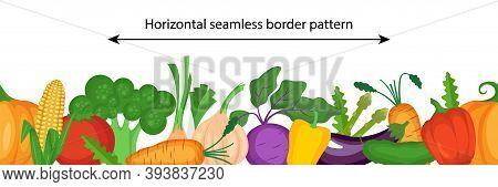 Vector Seamless Border Pattern With Fresh Vegetables. Healthy Vegan Food.