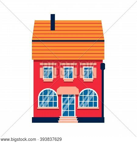 Single Cartoon House Colorful Architecture Amsterdam. Closeup Graphic Icon Townhouse, European Style