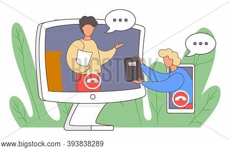 Videoconferencing And Online Meeting Workspace. Video Call Chat Conference Illustration. Two Men Spe