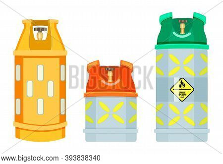 Collection Of Cartoon Vector Icons. Gas Tank. Danger Explosive Gas, Warning Sign. Reservoirs Or Gas