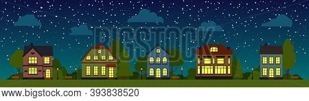 Night Street With Houses, Trees, Bush, Clouds, Flat Cartoon Panoramic Horizontal Banner. Urban Small